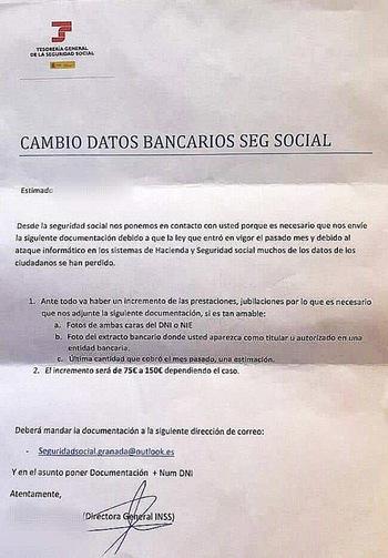 Usan a la Seguridad Social para una nueva estafa bancaria