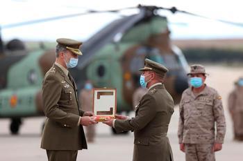 El Rey Felipe VI durante el acto de reconocimiento al personal participante en misiones en Afganistán