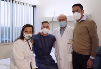 Isabel Guillén, Raúl Carnero, Pedro Guillén y José María Lomo, antes de la intervención.