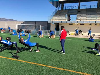 La plantilla del Villarrubia se ejercitó el lunes tras empatar el domingo con el Villanovense.