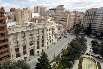 Vista de la Plaza del Altozano, donde estaba prevista la concentración del Sindicato de Estudiantes.