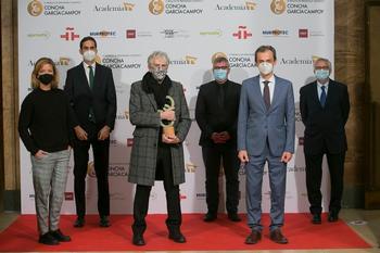 Juan Luis Arsuaga recoge en Madrid, en presencia de los ministros Rodríguez Uribes y Duque, el galardón a la trayectoria de los Premios de Periodismo Científico Concha García Campoy.