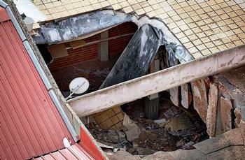 El derrumbe se produjo en uno de los extremos.