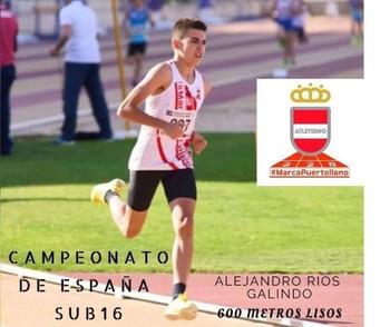 Alejandro Ríos, subcampeón de España de 600 metros lisos
