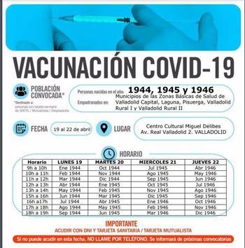 Valladolid vacuna desde el lunes a los nacidos entre 1944/46