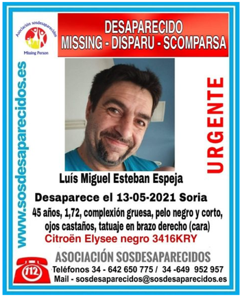 Desaparecido un hombre de 44 años en Soria capital
