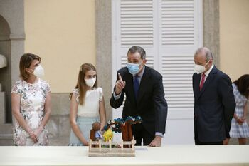 Don Felipe y su hija aparecen como fuente de inspiración de una de las obras seleccionadas en el concurso.