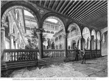 El claustro del Monasterio de Lupiana (8 de abril de 1884)