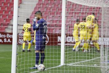 El Girona festeja uno de los goles.