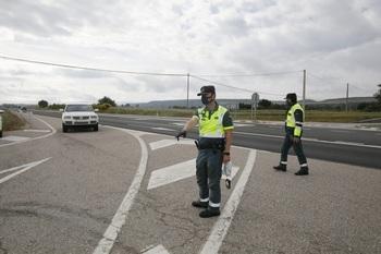 Imagen de un control de la Guardia Civil en las carreteras burgalesas.