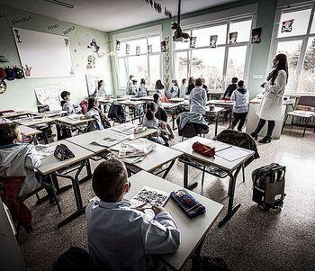 Imagen del interior de un aula de un colegio de Soria.