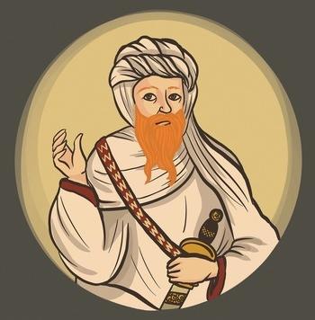 Ilustración de Gloria Cuenca que refleja al califa Abderramán III.