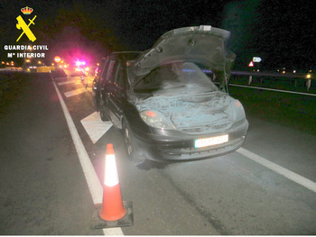 Arde un coche mientras circulaba por la SG-20