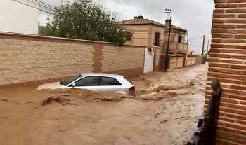 Una riada histórica azota los municipios del sur de Toledo