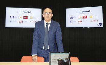 El director general de Iberaval, Pedro Pisonero, tras la presentación del fondo Aquisgrán.