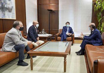(I a d) Óscar Somoza, Fernando de la Vara, Alfonso Fernández Mañueco y Javier Ortega, durante la reunión.