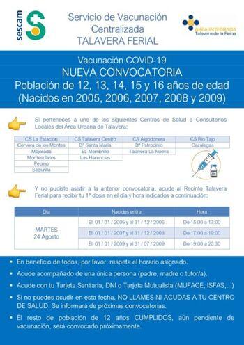 Nueva llamada de vacunación para jóvenes de 12 a 16 años