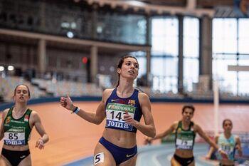 Eva Santidrián, durante un campeonato en pista cubierta celebrado en Valencia a principios de año