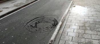 Corte en la calle Ciruela para arreglar un hundimiento