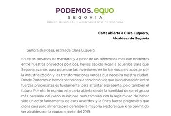Podemos Segovia ve en riesgo la estabilidad del Ayuntamiento