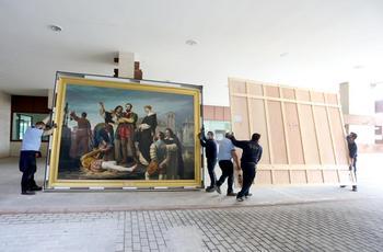 Las Cortes de Castilla y León reciben el cuadro 'Los comuneros Padilla, Bravo y Maldonado en el patíbulo', propiedad del Museo del Prado y procedente del Congreso de los Diputados.