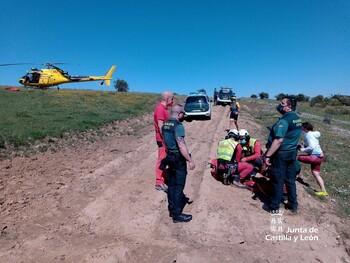 Evacuado en helicóptero un ciclista en Cerezo de Arriba