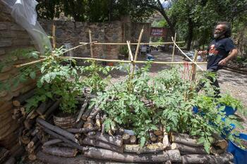 Miguel limpia la senda ecológica y lo torna en huerto urbano