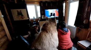 Ver la tele con un oso... lo normal en esta familia rusa
