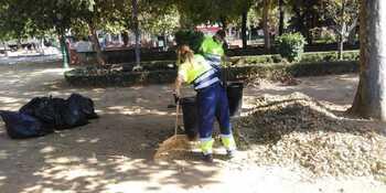 Talavera recoge las hojas secas por la reciente ola de calor