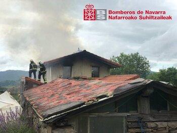 Un incendio destruye por completo una vivienda en Berroeta