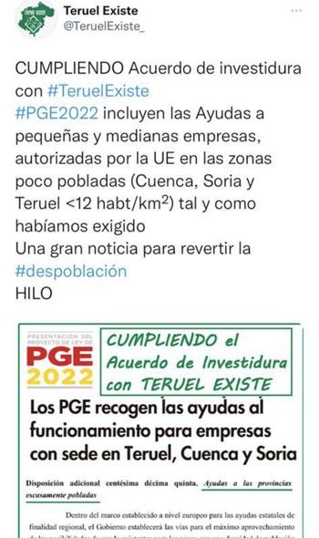 Teruel Existe ve la fiscalidad diferenciada en los PGE