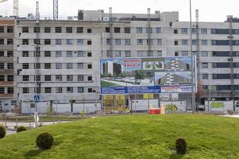 Un bloque de viviendas en construcción en Logroño