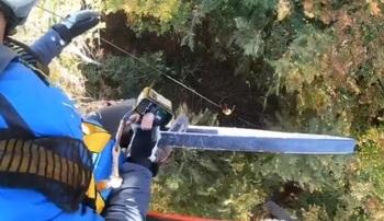 Rescatan un parapentista enganchado en un árbol en Izurdiaga