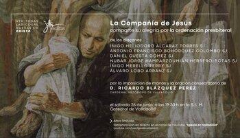 Cartel del acto de ordenación de los seis jesuitas.