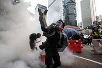 Protesters attend a rally against the government in Hong Kong