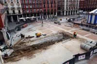 Obras de los accesos al aparcamiento subterráneo de la Plaza Mayor de Valladolid