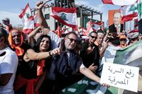 Supporters of Lebanese President Michel Aoun protest