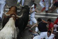 Séptimo encierro de los Sanfermines 2019, con toros de La Palmosilla, de Tarifa (Cádiz)