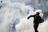 Manifestaciones contra el Gobiern en Santiago