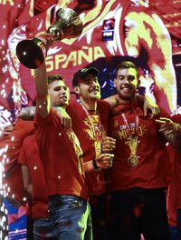 Celebración selección española de baloncesto