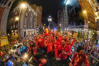 La selección española de baloncesto ha festejado este lunes en la Plaza de Colón de Madrid su tÁtulo de campeona de mundo
