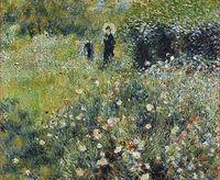 Renoir pinta a 'Mujer con sombrilla en un jardín'.