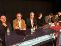 De izquierda a derecha, Paulino Jiménez, Pedro Trueba, Pedro Moreno, Agustín Cuenca, José Lasa, Rafael López y Ramón Riva.