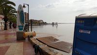 El agua del mar ha anegado una playa en la localidad murciana de  San Pedro del Pinatar, donde se han registrado 227 litros por metro cuadrado en 24 horas, a 13 de septiembre de 2019.