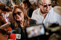 La cantante Á?ngela Carrasco visita la capilla ardiente de Camilo Sesto, instalada en la sede de la SGA, un dÁa después de su fallecimiento, el 8 de septiembre de 2019.