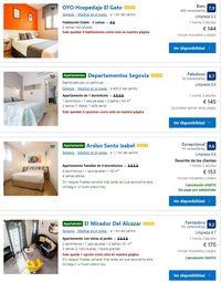 Precio de hoteles y apartamentos en Segovia en julio (de más caro a más barato)