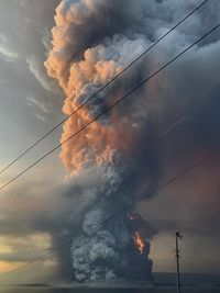 Lightning strike in the midst of Taal volcano explosion is seen in Lipa City