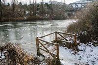 El Río Duero helado a su paso por Soria