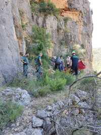 Un escalador resulta herido tras una caída en Ayna