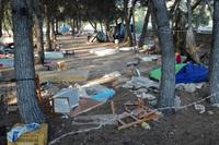 Lamentable estado de una parcela usada como asentamiento
